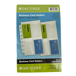 Day Timer 5 Pack Business Card Pages 5 x8 Holds 40 Cards Planner Refill 87225