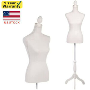 Female Mannequin Torso Dress Form W White Tripod Stand Shop Display Clothing
