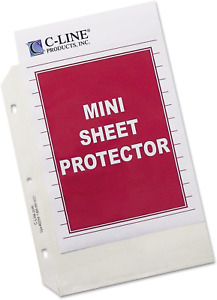 C line Top Loading Heavyweight Poly Sheet Protectors Clear Mini Size 8 5 X 5