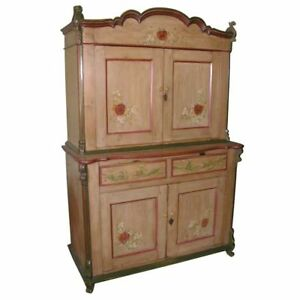 Step Back Hutch Painted Country Buffet In 2 Parts