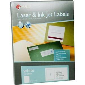 500 Maco Ml 0100 Full Sheet Labels 8 5 X 11 Shipping Full Page Ml0100 Fast Ship