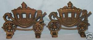 Vintage Collectible Bronze Finished Bookends Carriages Coaches 7 1 2 W X 6 H