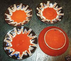 Lot 4 Antique Redware Saucer Dish Pulled Feathe Glaze