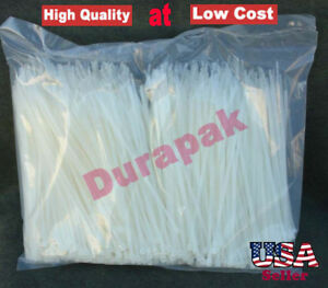10000 Pcs 4 18 Lbs Natural Nylon Cable Wire Zip Tie Retail Industrial Packaging