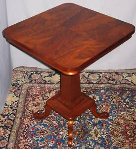 Antique Victorian Mahogany Parlor Lamp Table 1880 1900