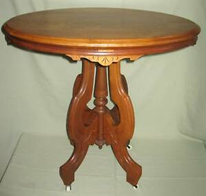 Antique Victorian Walnut Oval Parlor Lamp Table 1860 80