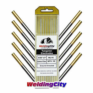 10 pk Tig Welding Tungsten Electrode 1 5 Lanthanated gold 5 32 x7 Us Seller