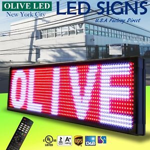 Olive Led Sign 3color Rwp 15 x40 Ir Programmable Scroll Message Display Emc