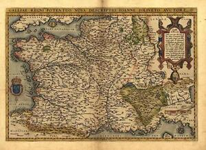 Large A1 Abraham Ortelius Gaul France Reproduction Vintage Old Antique Map New
