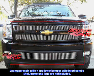 Fits 2007 2013 Chevy Silverado 1500 Chrome Vertical Billet Grille Insert Combo