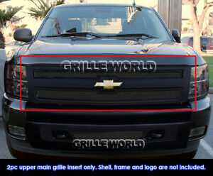 Fits 2007 2011 Chevy Silverado 1500 Black Stainless Mesh Main Upper Grille
