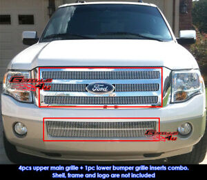 Fits 2007 2011 Ford Expedition Vertical Billet Grille Combo