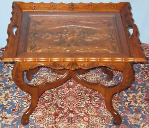Vintage Solid Walnut Sofa Coffee Table Carved Female