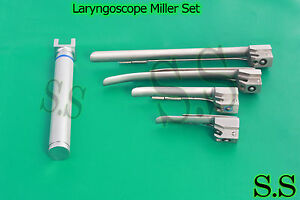 Laryngoscope Miller Set 1 Handle Aa 4 Miller Blades
