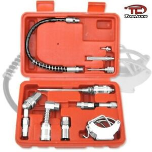 Multi Function Zerk Fittings Lubrication Grease Gun Kit Aid Couplers Air Manual