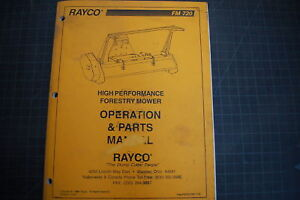 Rayco Fm720 Mower Operation Parts Book Catalog Manual Owner Operator Guide Shop