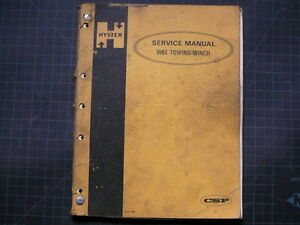 Hyster W6e Tractor Towing Winch Repair Shop Service Manual Workshop Book 1972