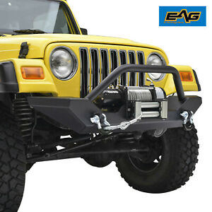 Eag 97 06 Jeep Wrangler Tj Front Bumper W Winch Plate D Rings Black Textured