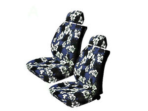 Blue Hawaiian Low Back With Headrest Car Truck Suv Front Seat Covers