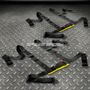 Pair Universal 4 pt 2 Strap Drift Racing Safety Seat Belt Buckle Harness Black