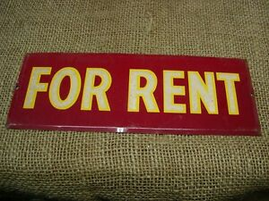 Vintage Metal For Rent Sign Antique Signs Reflective Store Warning Farm 6154