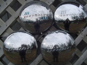 Vintage Chevrolet Dog Dish Hubcaps Wheel Covers Center Caps Chevy Poverty