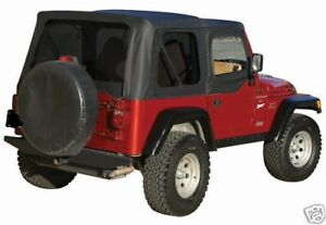 Black Soft Top Plus Upper Skins Tinted Rear Windows 97 2006 For Jeep Wrangler