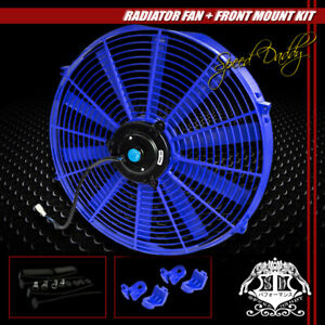 Universal Slim 16 Pull Push Radiator Engine Bay Cooling Fan Mounting Kit Blue