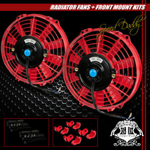 2x Universal Slim 9 Pull Push Radiator Engine Bay Cooling Fans Mounting Kit Red
