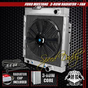 Full Aluminum 3 row Radiator 14 Black Cooling Fans 64 66 Ford Mustang V8 I6 Mt