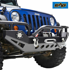 Eag Front Bumper With Led Lights D Rings Winch Plate 07 18 Jeep Wrangler Jk