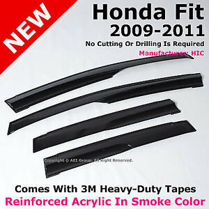 Hic For Honda Fit 09 11 Jdm Mug Acrylic Smoke Sun Window Shade Visor Deflectors
