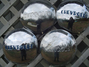 Vintage Chevy Chevrolet Dogdish Hubcaps Wheel Covers Center Caps Poverty