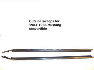 1983 1986 Ford Mustang Convertible Outer Window Sweeps Belt Line Molding Felts