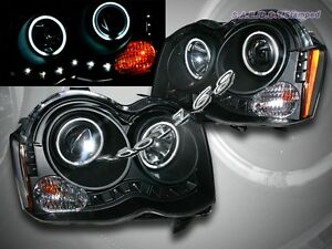 2008 2010 Jeep Grand Cherokee Two Ccfl Halo Led Black Projector Headlights