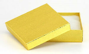 New 100 Gold Foil Cotton Filled Gift Boxes 3 1 2 X 3 1 2 Pendant Bangle Box