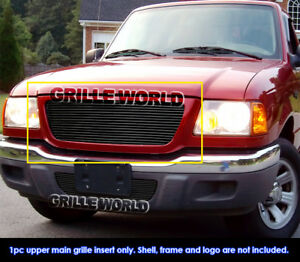 Fits 2001 2003 Ford Ranger Xlt Xl 2wd Black Billet Main Upper Grille Insert