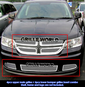 Fits 2011 2012 Dodge Journey Stainless Steel Mesh Grille Insert Combo