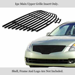 Fits 2007 2009 Nissan Altima Sedan Black Billet Main Upper Grille Insert