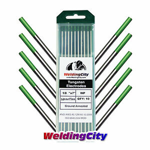 10 pk Tig Welding Tungsten Electrode Pure green 1 8 x7 Us Seller Fast Ship
