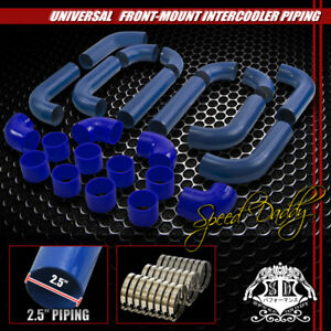 Universal Type 2 12pc 2 5 Aluminum Turbo Intercooler Piping hoses clamps Blue