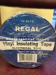 Regal Pro Electrical Tape Blue Ul 3 4 x60 7 Mil 200 case Fast Ship