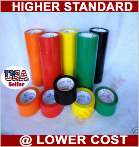 36 Rolls 1 8 Mil 2 Color Shipping Tape Red Green White Orange Blue Yellow Pack