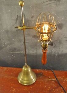 Vintage Antique Industrial Trouble Light With Stand Cage Pendant Lamp Lab