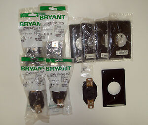Lot 5 Hubbell Bryant L5 20 Locking Receptacle Outlet 20a 125v 70520fr W Plates