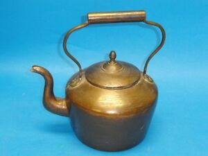 Antique 19 C Copper Tea Kettle Elegant Finial