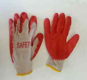 50 Pairs Red Latex Rubber Palm Coated Work Gloves