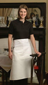 New White Full Bistro Apron qty 6