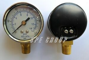 100 Pack Air Pressure Gauge 2 Face 200 Psi Bottom Mount 1 4 Npt Water Oil Gas