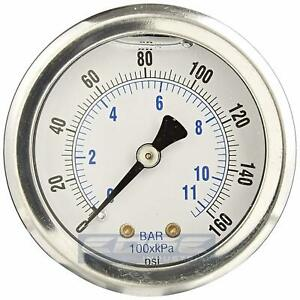 Liquid Filled Pressure Gauge 0 160 Psi 1 5 Face 1 8 Npt Back Mount